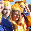 Littleton High School graduation, at the high school. From left, Kayla Palmer, Sydney Pare, Bailey Piche, Elizabeth Portante and Chance Ramirez. (SUN/Julia Malakie)