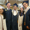 From left, Brianna St. Laurent of Methuen, Jackson Merrill of Pelham, N.H., William Small of Tewksbury, Kaitlyn Miele of Dracut, and Kyle Mehan of Lowell, before Lowell Catholic graduation. (SUN/Julia Malakie)