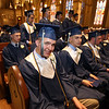 Lowell Catholic graduation at Immaculate Conception. Patrick Canney of Dracut, center, Jacob Dolliver of Billerica, left, and Joseph Callahan of Tewksbury, right front. (SUN/Julia Malakie)