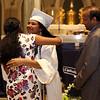 Lowell Catholic graduation at Immaculate Conception. Valedictorian Susritha Kopparapu of Tyngsboro, with mother Sridevi Kopparapu, and father Susritha Kopparapu. (SUN/Julia Malakie)