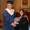 Lowell Catholic graduation at Immaculate Conception. Nathan Carbonneau of Chelmsford receives diploma from principal Maryellen DeMarco. (SUN/Julia Malakie)