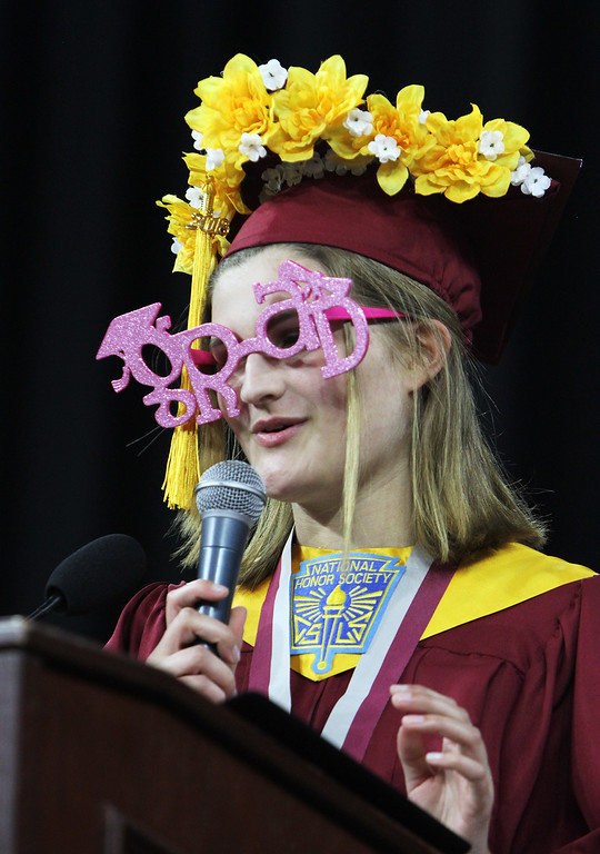 . Lowell High graduation. Valedictorian Emily Satterfield, who plans to major in Mechanical Engineering at MIT, turns her address into a rap. (SUN/Julia Malakie)