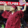 Lowell High graduation. Benjamin Koeun celebrates. (SUN/Julia Malakie)