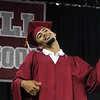 Lowell High graduation. Career Academy graduate Jamie Velez, doing what looked like air guitar.(SUN/Julia Malakie)