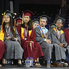Lowell High graduation. Carney Medalists, from left, valedictorian Nisha Patel, salutatorian Ashley Diep, Katherine Huang, David Savoie, Oudong Chhean, and Daniel Monteiro de Oliveira Silva. (SUN/Julia Malakie)