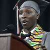 Class president Eunice Tabea speaks at Lowell High graduation. (SUN/Julia Malakie)