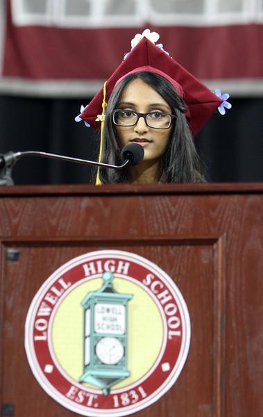 Lowell High graduation. Valedictorian Nisha Patel. (SUN/Julia Malakie)