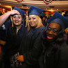 Middlesex Community College commencement. From left, Eliana Gonzalez, Tyleeah Gonzalez (no relation) and Miracle Martin, all of Lowell, and the only three Certificate Nursing Assistant graduates. (SUN/Julia Malakie)