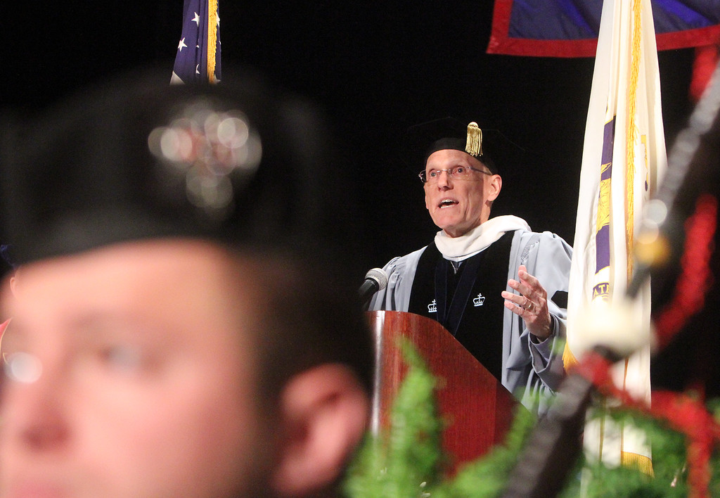 . President James Mabry addresses Middlesex Community College commencement. (SUN/Julia Malakie)