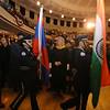 Middlesex Community College commencement. Lowell High School Air Force Junior ROTC color guard leaves. (SUN/Julia Malakie)