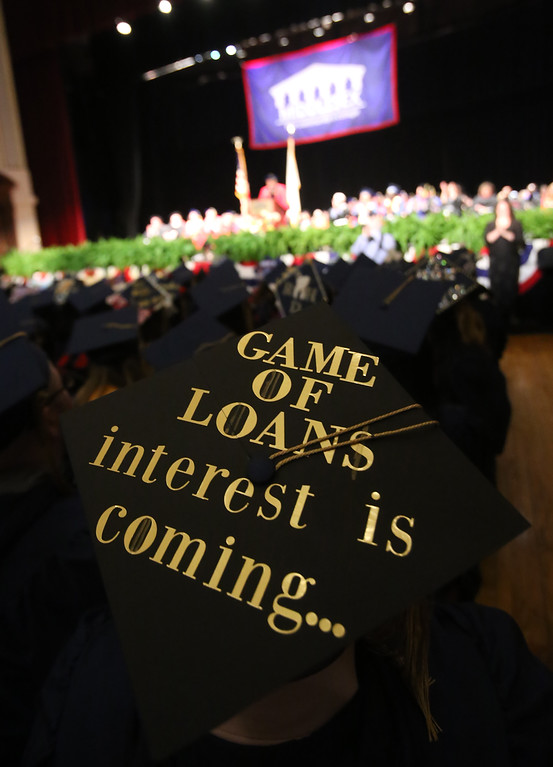 . Middlesex Community College commencement. Alex Feltman of Wakefield\'s cap refers to Game of Thrones. (SUN/Julia Malakie)
