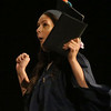 Middlesex Community College commencement. Jessica Duchesne of Dracut celebrates. (SUN/Julia Malakie)