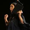 Middlesex Community College commencement. Jessica Duchesne of Dracut celebrates. (SUN/Julia Malakie)