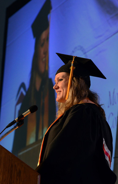 Montgomery County Community College Class of 2014 member Michelle Sikora gives the Student Adress  during the  school's Forty -Seventh Commencement on  Thursday  May 15 , 2014.  Photo by Mark C Psoras/The Reporter