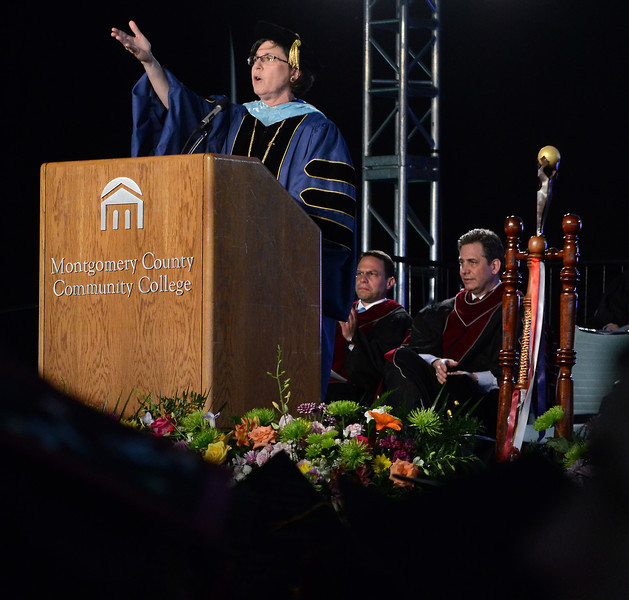 Montgomery County Community College President Dr. Karen Stout adresses the crowd during the  school's Forty -Seventh Commencement on  Thursday  May 15 , 2014.  Photo by Mark C Psoras/The Reporter