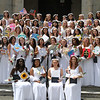 Notre Dame Academy graduation. Graduates assemble on steps for group photo. (SUN/Julia Malakie)