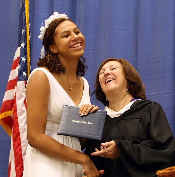 Notre Dame Academy graduation. Maya Wilson of Tyngsboro receives diploma from principal Helen Kay. (SUN/Julia Malakie)