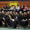 Record-Eagle/Keith King<br /> Students laugh as they listen to 2010 Imogene Wise Faculty Excellence Award recipient, Stephen Drake, Saturday, May 7, 2011 during the Northwestern Michigan College commencement ceremony at Traverse City Central High School.