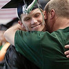 Record-Eagle/Douglas Tesner<br /> <br /> Don Gatrell grabs his son Branden during the processional and gives him a hug at the NMC graduation at Traverse City Central High School.
