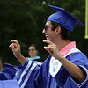 Nashoba Tech graduation. Kyle Goulart of Shirley stands during announcement of awards. (SUN/Julia Malakie)