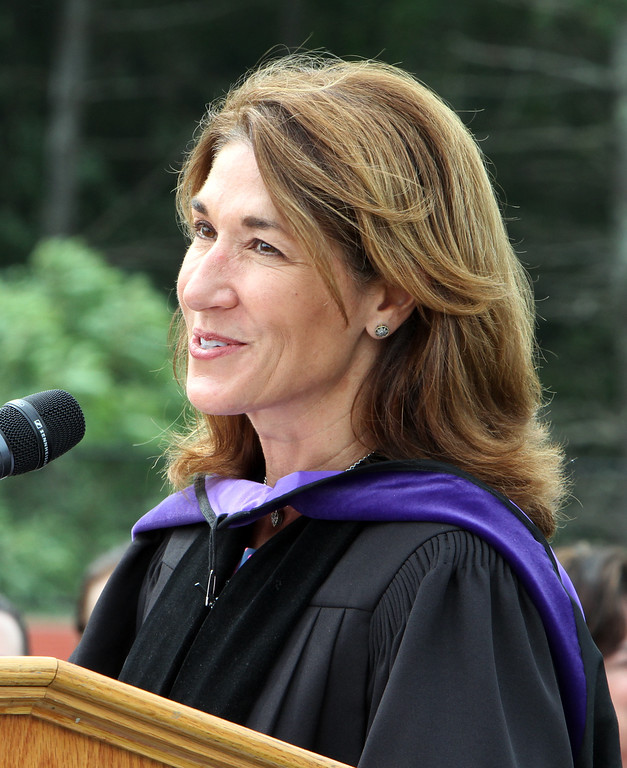 . Lt. Gov. Karyn Polito addresses Nashoba Tech graduation. (SUN/Julia Malakie)