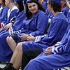 Nashoba Tech graduation. Kameron Adams of Tewksbury, left, and Caleb Ackerman of Pepperell keeps their legs cool. Malakie)