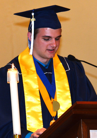 """Diane Raver   The Herald-Tribune<br /> Valedictorian Matthew Moorman noted, """"While the teachers and administration at Oldenburg have offered me a quality of education that will prove to be invaluable in the real world, it is likely that my 51 fellow classmates have had an even greater impact on me as a person."""""""