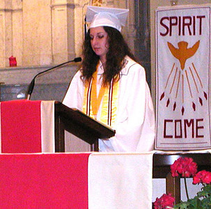 Diane Raver | The Herald-Tribune<br /> CORA WEISENBACH read the first reading during the graduation Mass.