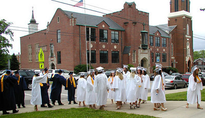 Diane Raver | The Herald-Tribune<br /> PRIOR TO ENTERING the chapel, seniors gathered outside.