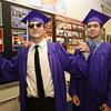 Shawsheen Tech graduation. Jake Nardone, left, and Jake Morrissey, both of Billerica, as graduates wait for procession to start. (SUN/Julia Malakie)