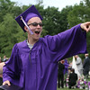Shawsheen Tech graduation. Jake Mercer of Tewksbury reacts to family in the crowd. (SUN/Julia Malakie)