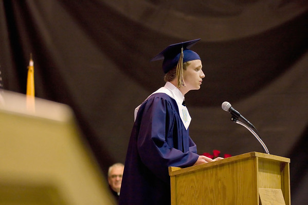 Record-Eagle/ Keith King<br /> Josh Kurtz delivers his Valectorian address Sunday, June 6, 2010 during the Traverse City St. Francis High School graduation ceremony. Three valedictorians were chosen this year.