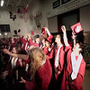 Record-Eagle/Jan-Michael Stump<br /> Traverse City Christian High School graduates toss their mortarboards in the air at the end of Saturday's commencement.