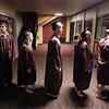 Record-Eagle/Keith King<br /> Graduating seniors wait in line Friday, June 8, 2012 at the start of the Traverse City High School graduation in Lars Hockstad Auditorium at Central Grade School.