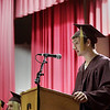 Record-Eagle/Keith King<br /> Mark Towne delivers a speech Friday, June 8, 2012 during the Traverse City High School graduation in Lars Hockstad Auditorium at Central Grade School.
