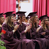 Record-Eagle/Keith King<br /> Graduating seniors applaud Friday, June 8, 2012 during the Traverse City High School graduation in Lars Hockstad Auditorium at Central Grade School.