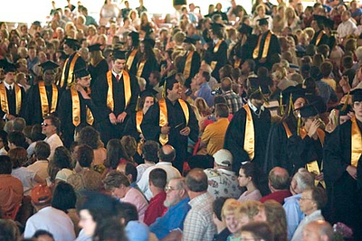 Record-Eagle/Jan-Michael Stump<br /> Traverse City Central High School seniors process into Kresge Auditorium of the Interlochen Center for the Arts for their graduation Saturday.