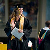 Record-Eagle/Jan-Michael Stump<br /> Traverse City Central High School graduate Lauren Blanchard (cq) waves to the crowd after accepting her diploma Saturday at the Interlochen Center for the Arts.