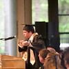 Record-Eagle/Jan-Michael Stump<br /> Traverse City Central High School senior class president Justin Knickerbocker (cq) cracks a joke about a dance during his speech during graduation Saturday at the Interlochen Center for the Arts.