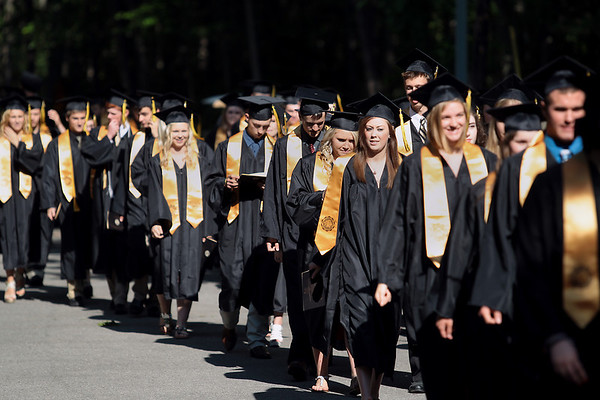 Record-Eagle/Keith King<br /> Traverse City Central High School graduating seniors walk proceed toward Kresge Auditorium Sunday, June 3, 2012 for their commencement at the Interlochen Center for the Arts.
