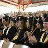 Record-Eagle/Keith King<br /> Traverse City Central High School graduating seniors applaud after listening to class president, Evan Bankey, Sunday, June 5, 2011 during the Traverse City Central graduation ceremony in Kresge Auditorium at the Interlochen Center for the Arts.