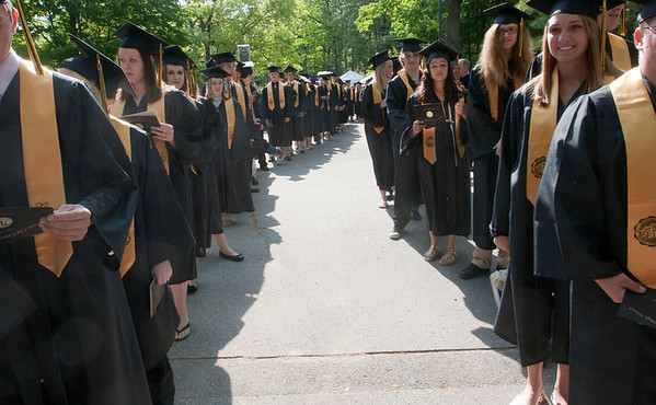 Record-Eagle/Douglas Tesner<br /> Students line up before the start of the commencement ceremony.