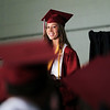 Record-Eagle/Keith King<br /> Grace Banks, co-valedictorian along with Emily Ritsema, delivers a speech Saturday, June 11, 2011 during the Traverse City Christian School graduation ceremony.