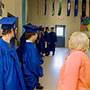 """Record-Eagle/ Keith King<br /> """"I'm really proud of all of you,"""" said Marguerite Forrest, at right, Wednesday, June 9, 2010 as graduating seniors lined up in the cafeteria before the Traverse City College Preparatory Academy graduation ceremony."""