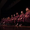 Record-Eagle/Tyler Sipe<br /> Traverse City High graduating seniors grace the stage during Thursday evening's commencement at Milliken Auditorium. Nearly 50 students graduated from the high school