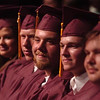 Record-Eagle/Tyler Sipe<br /> Traverse City High graduating seniors listen to a member of their cohort reflect on their time at T.C. High during Thursday evening's commencement at Milliken Auditorium. Nearly 50 students graduated from the high school