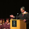 Record-Eagle/ Keith King<br /> Traverse City Area Public Schools superintendent James Feil makes some welcome remarks Friday, June 11, 2010 during the Traverse City High School graduation ceremony in Milliken Auditorium.