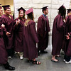 Record-Eagle/Keith King<br /> Traverse City High School graduating seniors stand in line Friday, June 10, 2011 prior to the start of the Traverse City High School graduation ceremony at the Dennos Museum Center.