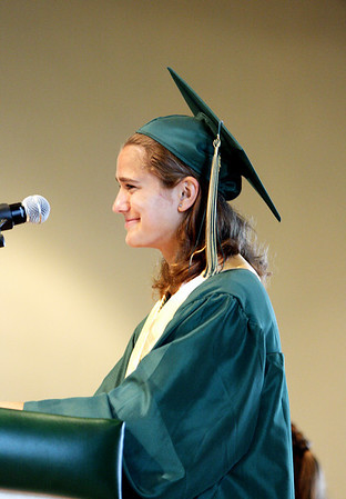 Record-Eagle/ Keith King<br /> Traverse City West Senior High School Class President, Carolyn Vlach, delivers the welcome address Saturday, June 12, 2010 during the Traverse City West graduation ceremony in Kresge Auditorium.