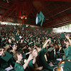 Record-Eagle/ Keith King<br /> Traveres City West Senior High School graduates throw their caps into the air and applaud after they are presented as the Class of 2010 Saturday, June 12, 2010 during the Traverse City West graduation ceremony at Kresge Auditorium.